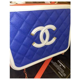 Chanel-Chanel CC Filigree Vanity Case Medium Blue Red White Caviar Leather-White,Red,Blue,Golden