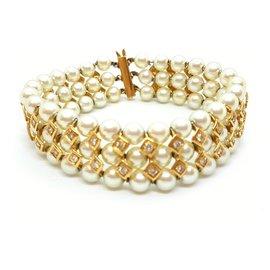 Autre Marque-Bracelet perles et diamants-Doré