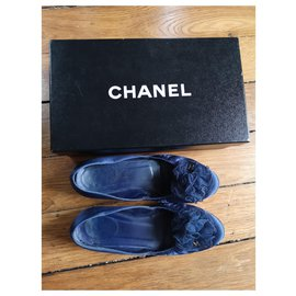 Chanel-Chanel ballet flats in blue satin T38-Blue