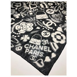 Chanel-Black white CHANEL shawl-Black,White