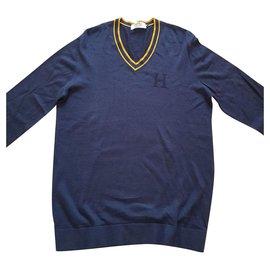 Hermès-Knitwear-Yellow,Navy blue