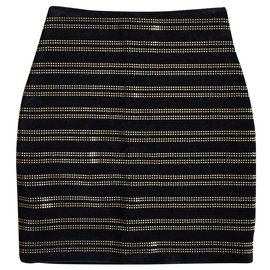 Balmain-Jupe cloutée en velours noir Balmain doré.-Noir
