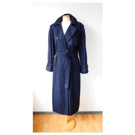 Burberry-Navy Blue Trench Coat With Removable Lining-Navy blue