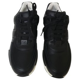 Chanel-Chanel black leather sneakers-Black