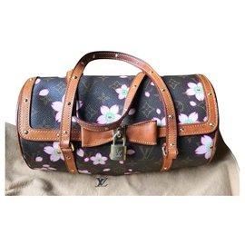 Louis Vuitton-Excelente bolsa Louis Vuitton murakami Papillon-Rosa,Castanho escuro
