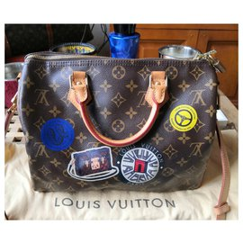 Louis Vuitton-Sublime speedy shoulder bag world tour-Dark brown