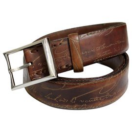 "Berluti-""Classic Scritto"" Belt from Maison Berluti.-Brown"