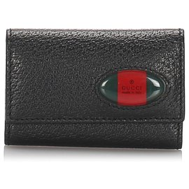 Gucci-Gucci Black Leather Web Key Holder-Black