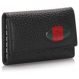 Gucci-Porte-clés Web en cuir noir Gucci-Noir