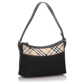 Burberry-Burberry Black Nylon Nova Check Shoulder Bag-Black,Multiple colors