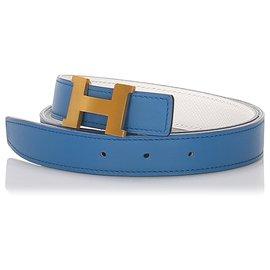 Hermès-Hermes Blue Reversible Constance Belt-Blue,Golden