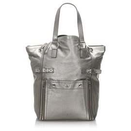 Yves Saint Laurent-YSL Gray Patent Leather Downtown Tote Bag-Grey