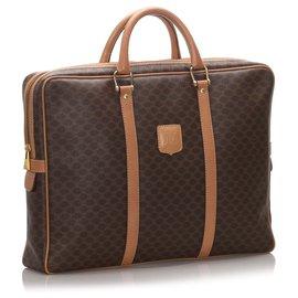 Céline-Celine Brown Macadam Business Bag-Marron