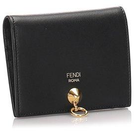 Fendi-Portefeuille pliable en cuir noir Fendi-Noir