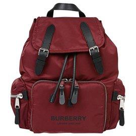 Burberry-BURBERRY FABRIC RUCKSACK BACKPACK NEW-Dark red