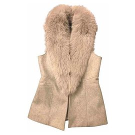Flavio Castellani-Short sleeveless cashmere jacket with a removable collar in real fox fur.-Grey