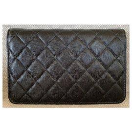 Chanel-Golden Class Wallet on Chain Black Goat Skin-Black