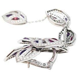 """Cartier-Boucles d'oreilles Cartier modèle """"Caresse d'Orchidées"""" en or blanc, tourmalines, améthystes et diamants.-Autre"""