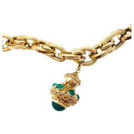 inconnue-Bracelet breloques en or jaune et verres de couleurs.-Autre