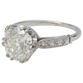 inconnue-Bague solitaire en platine, diamant taille ancienne 2,09 cts H/SI1-Autre