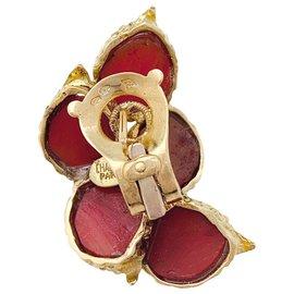 Chaumet-Boucles d'oreilles Chaumet or jaune et corail.-Autre
