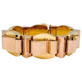 inconnue-Bracelet tank en or jaune et or rose.-Autre