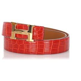 Hermès-Hermes Red Crocodile Reversible Constance Belt-Red,Golden