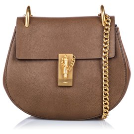 Chloé-Chloe Brown Leather Drew Crossbody Bag-Brown