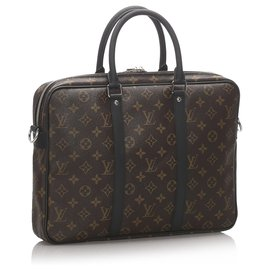Louis Vuitton-Louis Vuitton Monogramme Marron Macassar Porte-Documents Jour-Marron,Noir