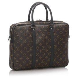Louis Vuitton-Louis Vuitton Brown Monogram Macassar Porte-Documents Jour-Brown,Black