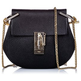 Chloé-Chloe Black Small Grained Leather Drew Crossbody Bag-Black