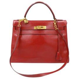 Hermès-Hermès Kelly Vintage 32 en cuir box rouge-Rouge