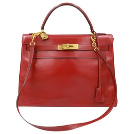 Hermès-Vintage Hermes Kelly 32 in red box leather-Red