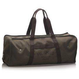 Hermès-Hermes Brown Canvas Travel Bag-Brown