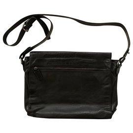 Roberto Cavalli-Black lambskin leather messanger bag-Black
