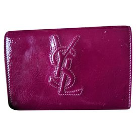 Yves Saint Laurent-Beautiful Yves Saint Laurent patent leather clutch-Dark red