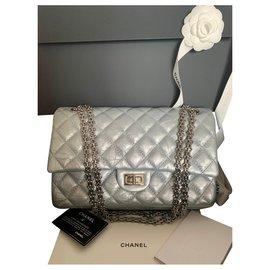 Chanel-Reissue 2.55 Cuir de veau vieilli 226-Argenté