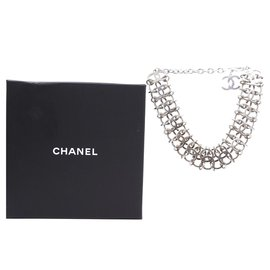 Chanel-Chanel Silver Multi Interlocking Rings Charm Chain Necklace-Silvery