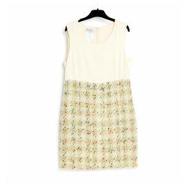 Chanel-silk and tweed FR40-Vert,Écru