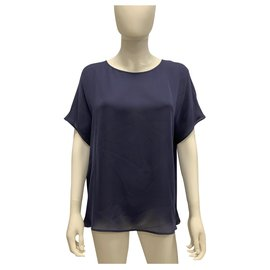 Emporio Armani-Navy blu silk chiffon top-Navy blue