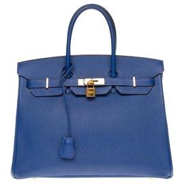 Hermès-HERMES BIRKIN 35 no epsom azul elétrico, guarnição de metal banhado a ouro-Azul