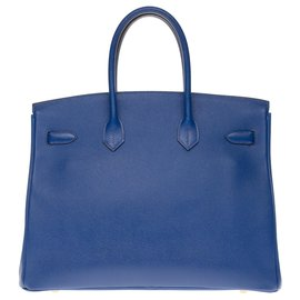 Hermès-HERMES BIRKIN 35 in electric blue epsom, gold plated metal trim-Blue