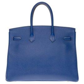 Hermès-Hermès Birkin 35 en epsom bleu électrique, garniture en métal plaqué or-Bleu