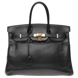 Hermès-Hermès Birkin 35 en cuir Courchevel noir, garniture en métal plaqué or-Noir