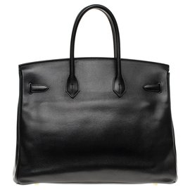 Hermès-HERMES BIRKIN 35 in black Courchevel leather, gold plated metal trim-Black
