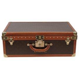 Louis Vuitton-Splendide Valise vintage Louis Vuitton Alzer 60 en toile monogram et lozine en très bel état-Marron