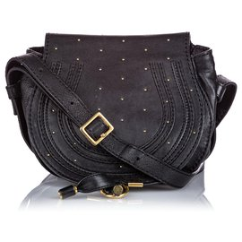 Chloé-Chloe Black Leather Marcie Crossbody Bag-Black