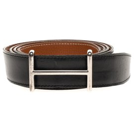 Hermès-Hermès Reversible belt in black box leather and Togo gold with wide H buckle in palladium silver-Black,Golden