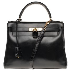 Hermès-Superbe Customisation Hermès Kelly 28 retourné en cuir box noir avec poignée et bandoulière en cuir de crocodile Porosus noir, garniture en métal plaqué or-Noir