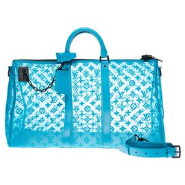 Louis Vuitton-Sold out - Louis Vuitton Keepall triangle bag 50 monogram turquoise mesh strap, new condition!-Turquoise
